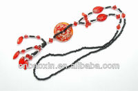 New style handmade red round stone beads ruby chain necklace