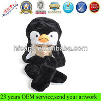 Fashion penguin plush kids animal winter hats with paws