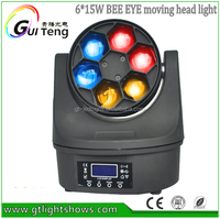 6pcs*15W 4in1 RGBW LED Small Bee Eye Moving Head Beam Light, Mini LED Moving Head Light DMX Endless Rotation