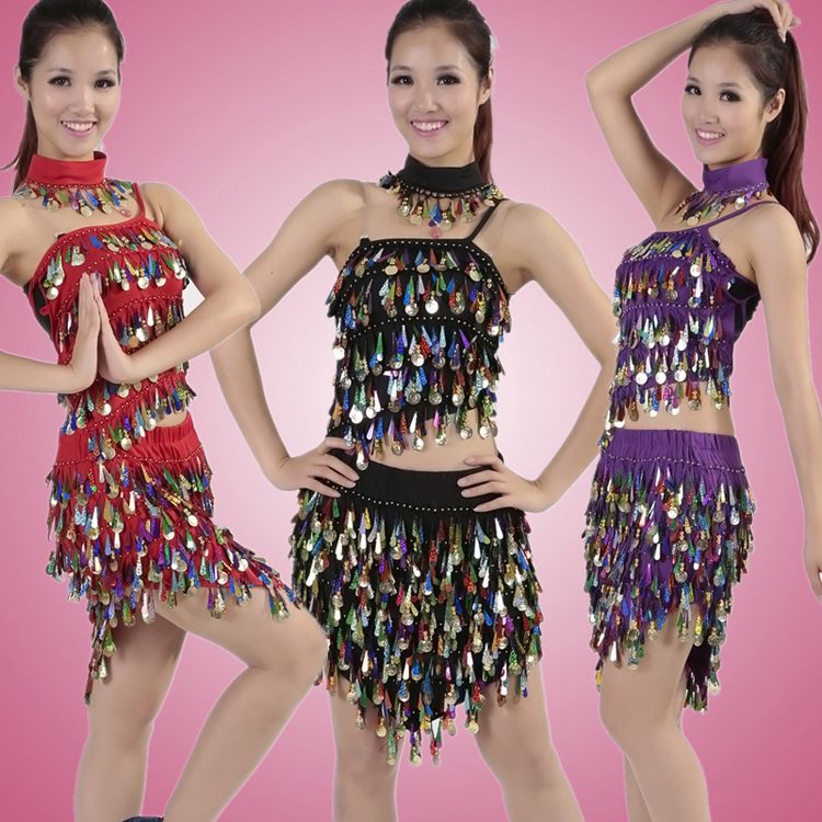 Ladies Sexy Dance Dress Gold Glitter Sequin For Belly Dance