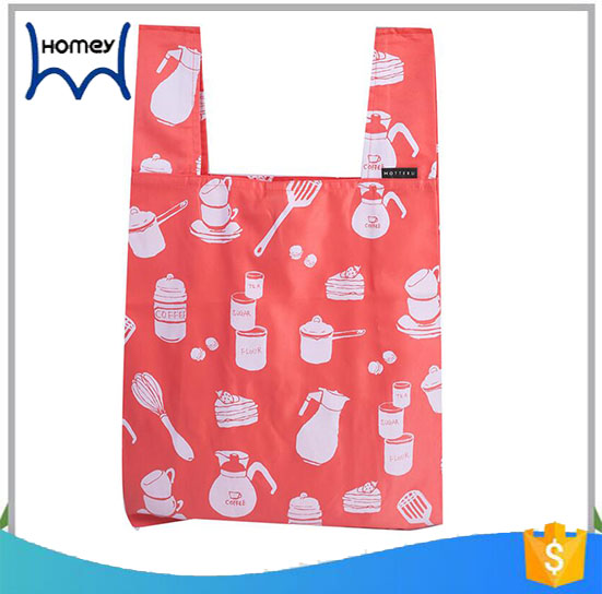 Promtional compact moving foldable nylon shopping grocery bag