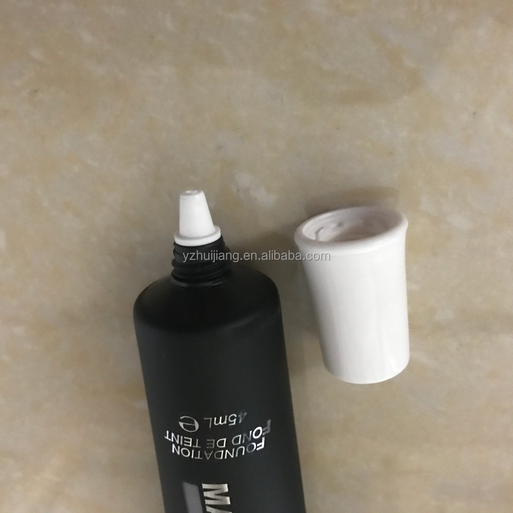 45ml matte black needle point cosmetic plastic tube packaging with white screw cap