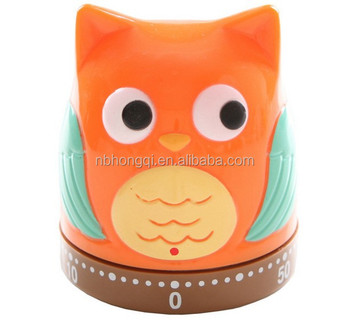 60 minutes Plastic Mechanism Kitchen Timer Owl Timer