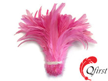Top sale rooster plumage bleached natural candy pink coque tails feathers