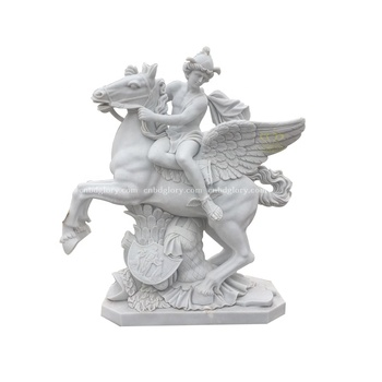 Stone Carving Marble Mythology Figure Statue Riding Flying Horse