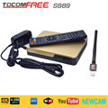 Satellite TV Receiver TocomFree S989 + AV Cable with Free IKS SKS IPTV for Brazil Chile Peru Argentina Colombia South America