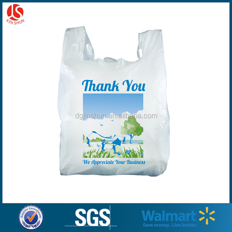 Gravure Printing Surface HDPE White Recycled Feature Coloured Grocery Vest Handle Plastic Outside Packing Bag for Supermarket