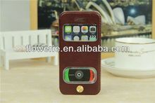 FL311 hot selling stand genuine dual window Sheepskin leather case for iphone 5s