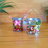 Custom logo small round clear or transparent PET buckets with metal lids for candy,Clear PET food tin bucket ,