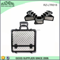 Professional hard silver ABS makeup cosmetic trolley case