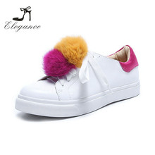 2018 Winter Custom Design Plain Breathable Running Fluffy Pompom Round Toe White Flats Sneakers With Fur