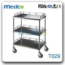 T029 Best price! Medical instrument 3 shelf utility cart stainless steel cart