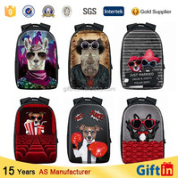 Animal 3D printing polyester backpack printing with dog backpack