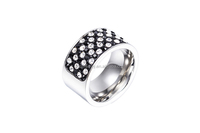 SR0703008 Wide Brand Wholesale Stainless Steel Fashion Silver CZ Engagement Ring