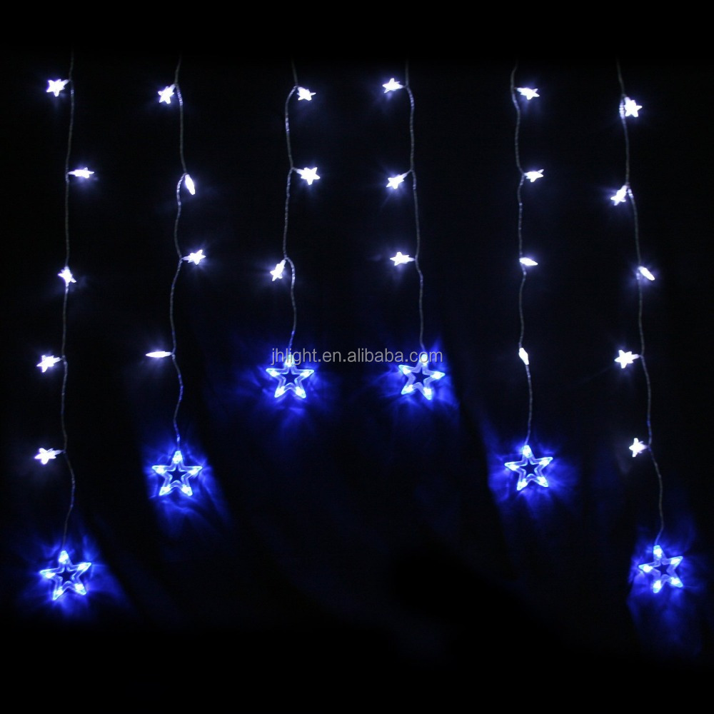 2016 best selling shining star curtain lights christmas window lights indoor/outdoor waterfall fairy string decoration