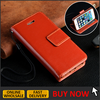 High quality brown leather flip case for iphone 5 /5s /se wallet case with card slots