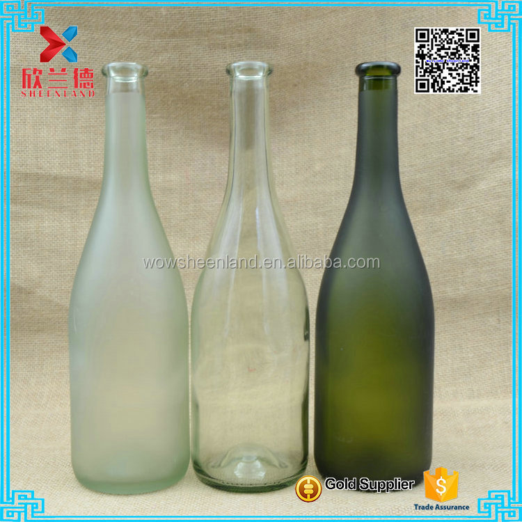 750ml fancy green frosted clear glass wine bottle for alcoholic drink,liquor