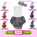 2016 Solid color fashion baby sequin bloomers with headband infant and toddlers clothing