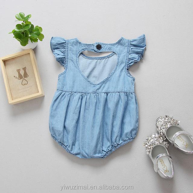 Wholesale baby girl blue back love denim knit cotton rompers children summer bodysuit clothing