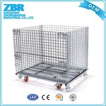 Collapsible warehouse industrial steel storage cages with legs