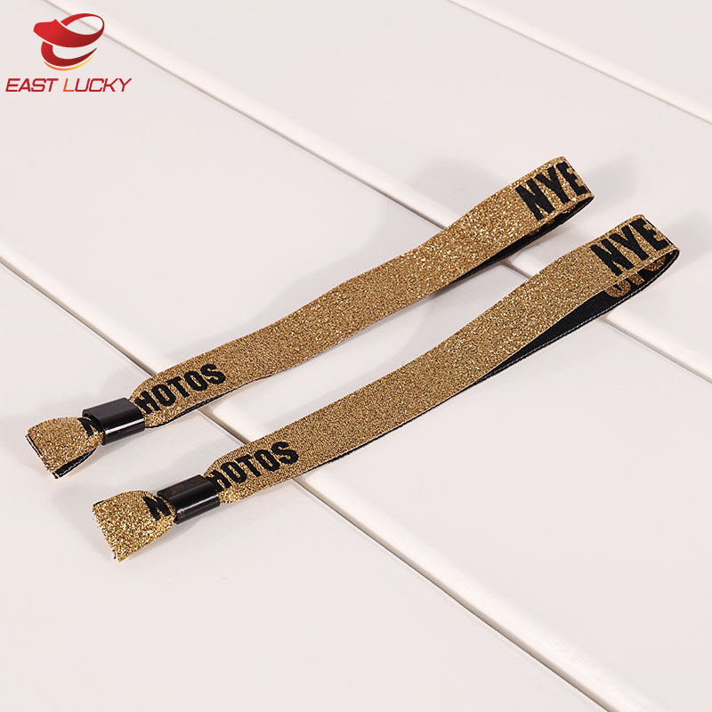 Personalized polyester golden color woven fabric bracelets wristbands for music party