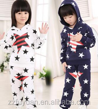 new arrival cotton casual long sleeve hoodies sets with caps, star design