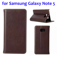 Hot Selling Flip Genuine Leather Case Cover for Samsung Galaxy Note 5