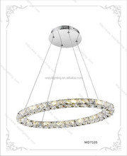 hot sale stainless steel + K9 crystal iron pendant led ring light MD7105-32 32W