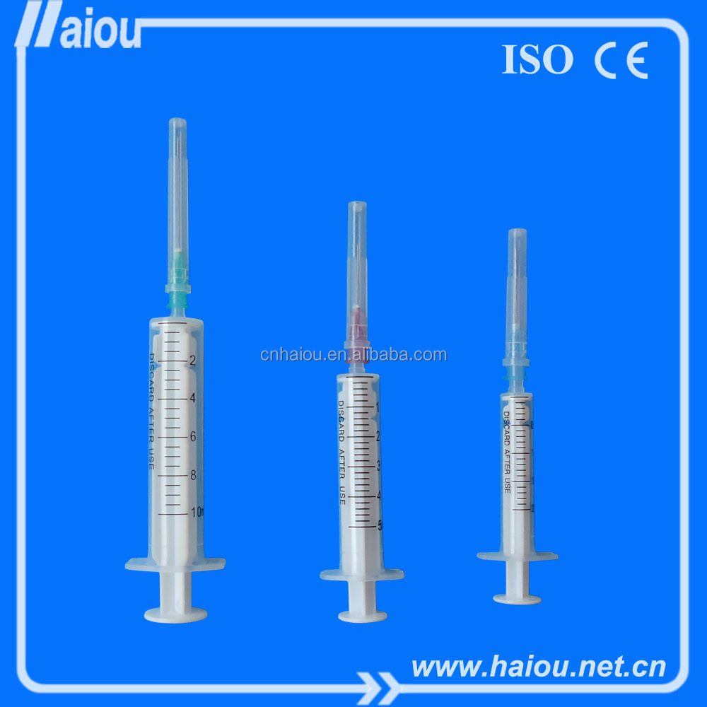 two part disposable syringe with needle