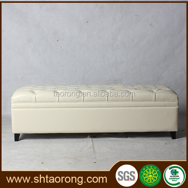 Elegant hotel upholstery leather modern ottoman bench