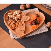 ECO-friendly Hot Sale Love Heart Shape Bamboo Wood Sushi Serving Tray or Cake Plate Dry Fruit Tray
