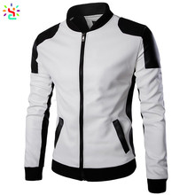 Pu leather jackets bomber slim fit leather jacket men slim fit over coat mens blank jackets wholesale
