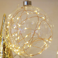 10L Warm White LED light up glass ball with copper wire light hanging glass ball