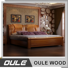 Modern solid wood bed bedroom furniture simple double bed indian wood double bed designs