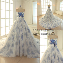 Sweetheart neckline Aline print ice blue flower elegant wedding dresses