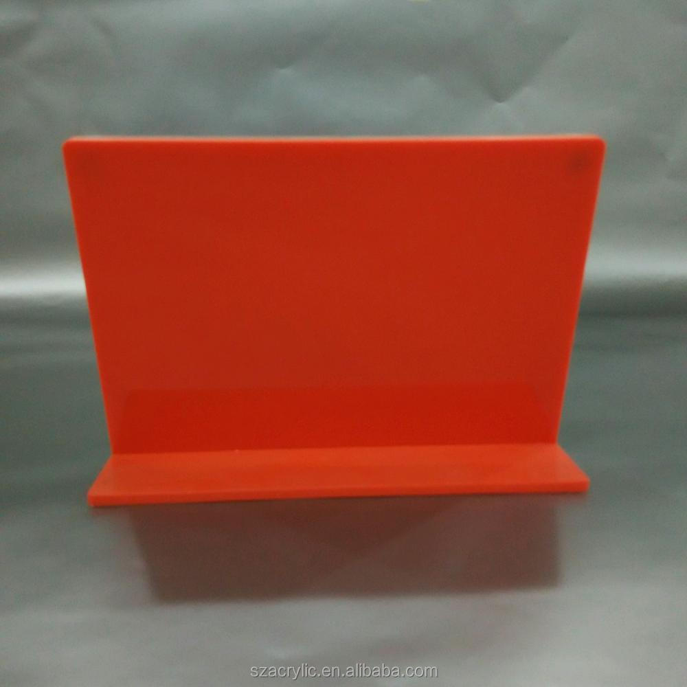 Orange acrylic picture frames L shape photo display frame