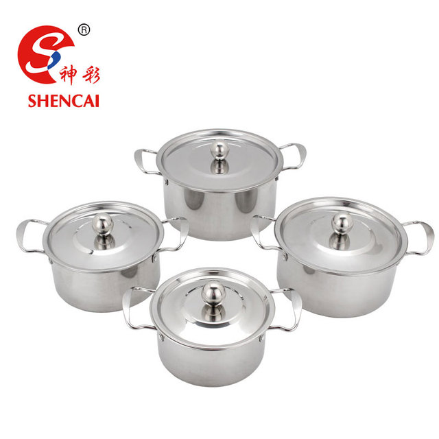 3/4pcs Stainless Steel Stock Pot Casserole Dish Cooking Pot With Handles