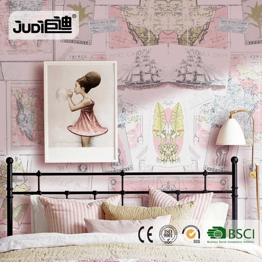 China factory new design good quality lovely korean style wallpaper