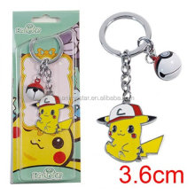 Pikachu Keychain Pocket Monsters Key Holder Pokemon Go Key Ring Pendant 3D Mini Poke Ball Bells