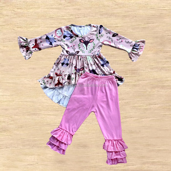 bulk wholesale children clothing high-low top with ruffle pants deer pattern boutique girl fall outfits