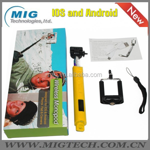 Double system Wireless monopod with zoom, Extendable Handheld monopod selfie stick for Over ios 4.0/android 3.0 smartphone
