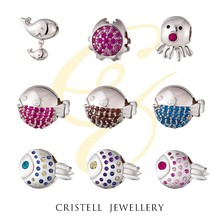 Mirror polish 925 sterling silver beads charms pendants with AAA Cubic Zircon stones and platinum plating