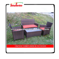 4 PC Shinygarden Rattan Patio Furniture Set Black Wicker Garden Lawn Sofa Cushioned Seat