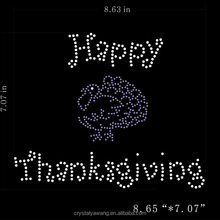 happy thanksgiving hot fix rhinestone transfer iron on strass