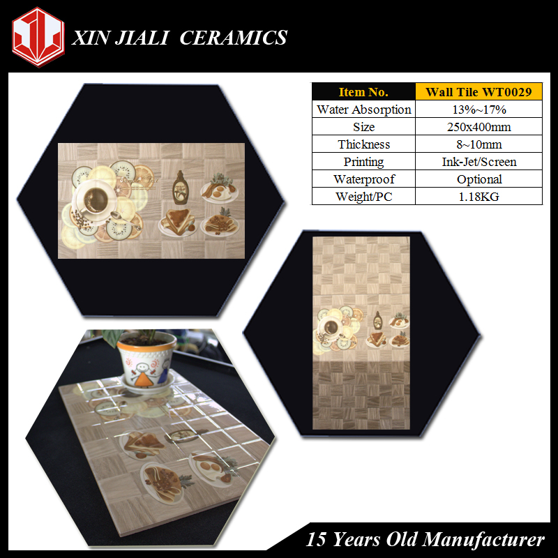 250x400mm WT0029 New Design Material Restaurant Kitchen Wall Tiles