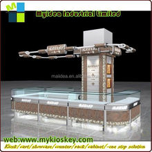 Elegant free style with tempered glass stainless steel display showcase corrugated display stand