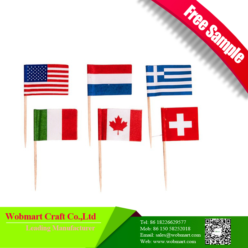 Free Sample Factory Price Safe Tooth Pick Decorative Flag