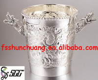 Noble Metal Silver-Plated Dragon Handles Ice Bucket/Wine Cooler/Beer Cooler/Wine Ice Bucket/Wine Ice Holder