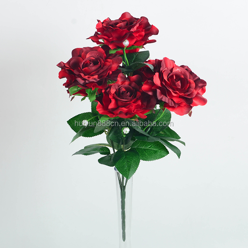 Wedding Decoration Wholesale Silk Big Red Rose Artificial Flower Garland