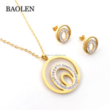 Dubai Top Sale Gifts Round Heart Shape 18k Gold Plated Stainless Steel Jewelry Sets For Women